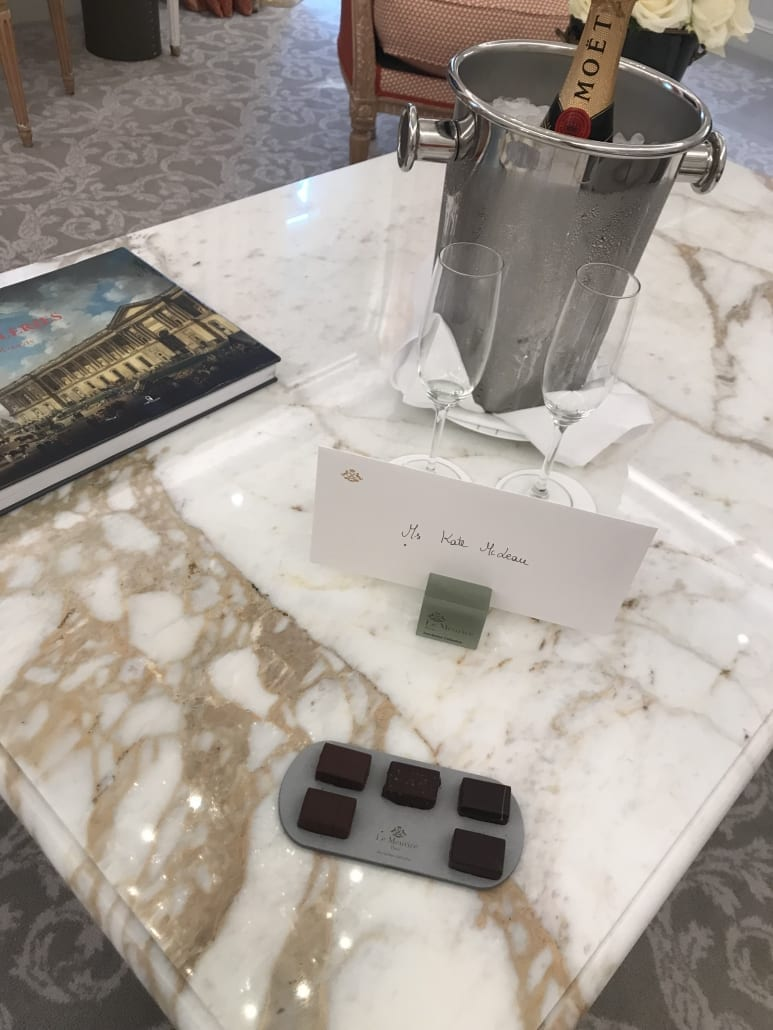 Welcome amenity at Le Meurice
